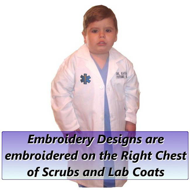 Embroidery Placement  sc 1 st  My Little Doc & Kids Doctor Costume with Lab Coat Scrubs Stethoscope and Mask - Kids ...