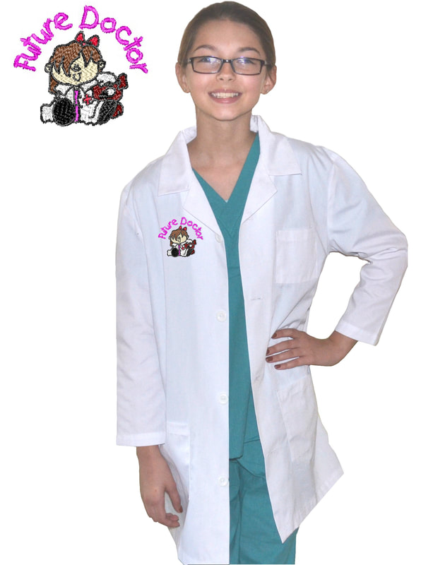 Kids Lab Coat with Future Doctor Girl Design
