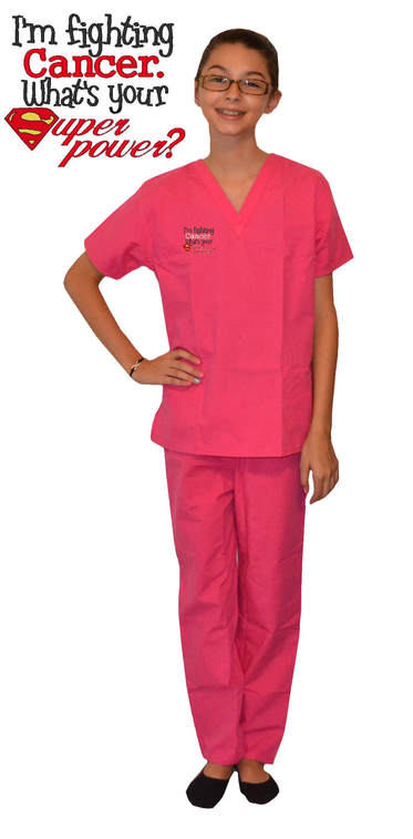 Pink Kids Scrubs with I'm Fighting Cancer Design