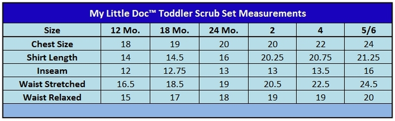 Toddler Scrubs Size Chart